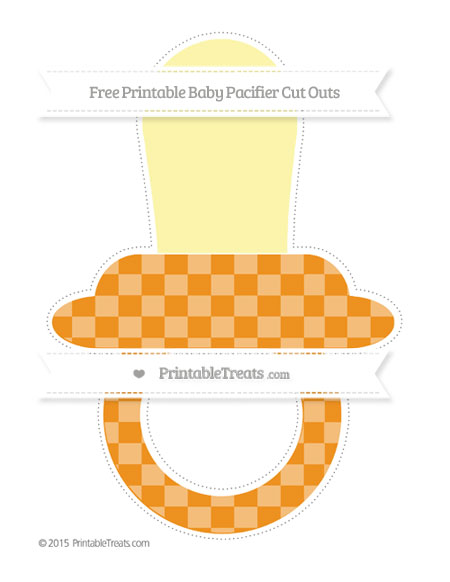 Free Carrot Orange Checker Pattern Extra Large Baby Pacifier Cut Outs