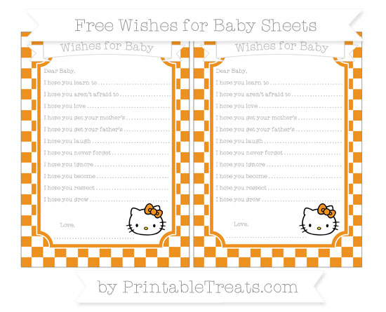 Free Carrot Orange Checker Pattern Hello Kitty Wishes for Baby Sheets