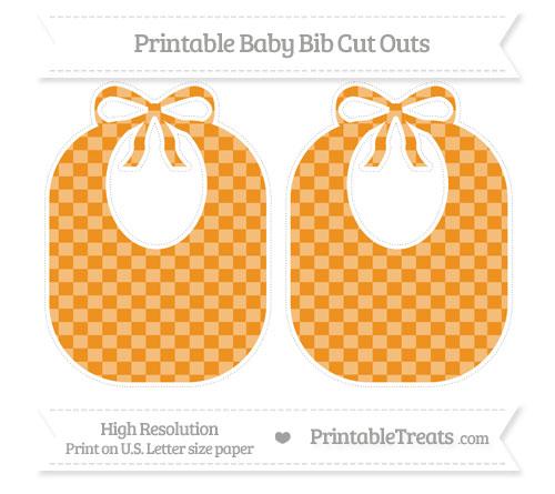 Free Carrot Orange Checker Pattern Large Baby Bib Cut Outs