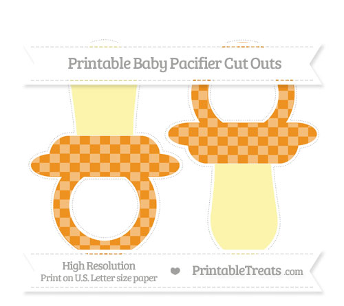 Free Carrot Orange Checker Pattern Large Baby Pacifier Cut Outs