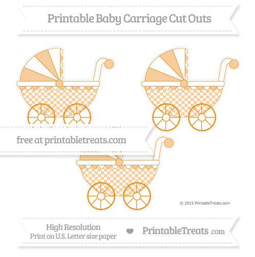 Free Carrot Orange Checker Pattern Medium Baby Carriage Cut Outs