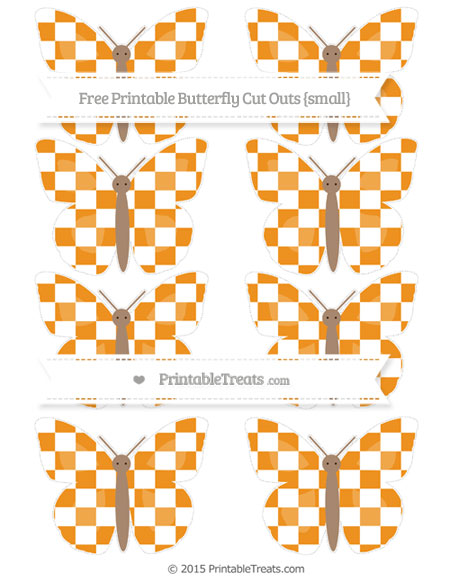 Free Carrot Orange Checker Pattern Small Butterfly Cut Outs