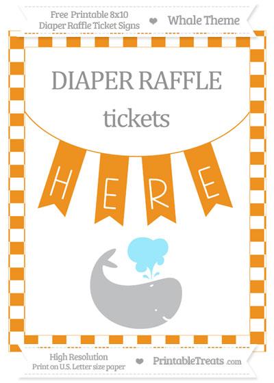 Free Carrot Orange Checker Pattern Whale 8x10 Diaper Raffle Ticket Sign