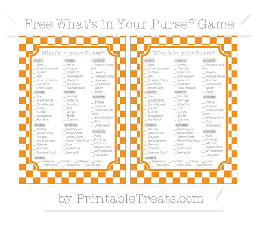 Free Carrot Orange Checker Pattern What's in Your Purse Baby Shower Game
