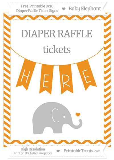 Free Carrot Orange Chevron Baby Elephant 8x10 Diaper Raffle Ticket Sign