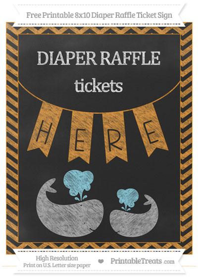 Free Carrot Orange Chevron Chalk Style Baby Whale 8x10 Diaper Raffle Ticket Sign