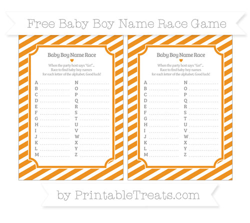 Free Carrot Orange Diagonal Striped Baby Boy Name Race Game