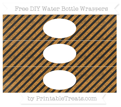 Free Carrot Orange Diagonal Striped Chalk Style DIY Water Bottle Wrappers