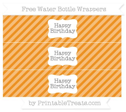 Free Carrot Orange Diagonal Striped Happy Birhtday Water Bottle Wrappers