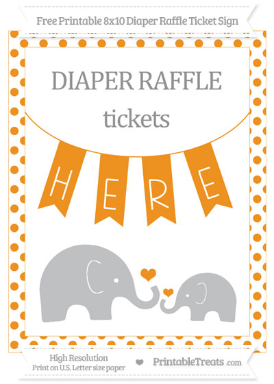 Free Carrot Orange Dotted Elephant 8x10 Diaper Raffle Ticket Sign