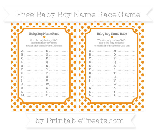 Free Carrot Orange Dotted Pattern Baby Boy Name Race Game