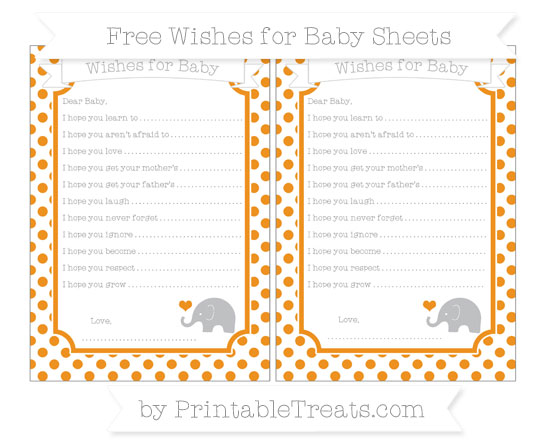 Free Carrot Orange Dotted Pattern Baby Elephant Wishes for Baby Sheets