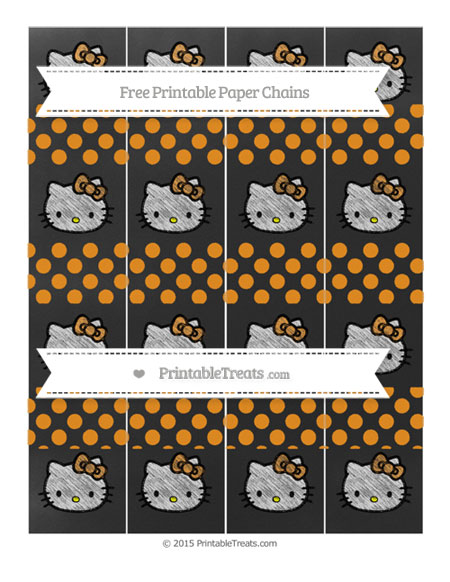 Free Carrot Orange Dotted Pattern Chalk Style Hello Kitty Paper Chains