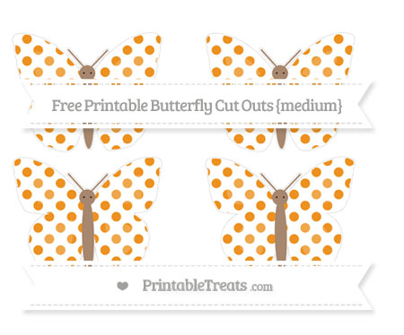 Free Carrot Orange Dotted Pattern Medium Butterfly Cut Outs