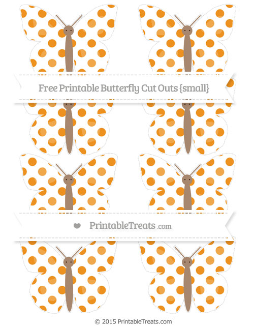 Free Carrot Orange Dotted Pattern Small Butterfly Cut Outs