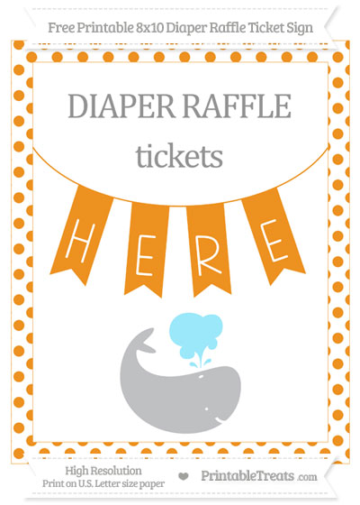 Free Carrot Orange Dotted Whale 8x10 Diaper Raffle Ticket Sign