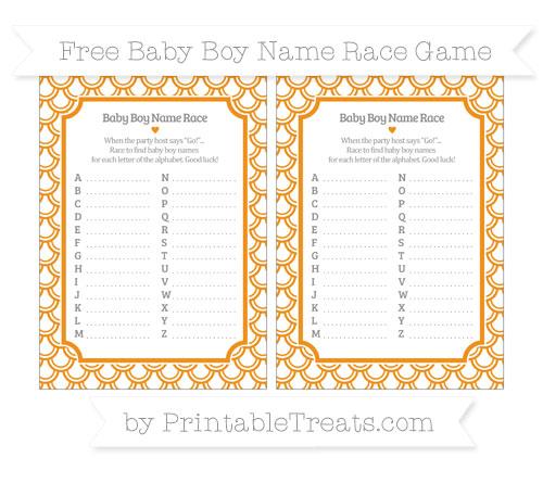 Free Carrot Orange Fish Scale Pattern Baby Boy Name Race Game