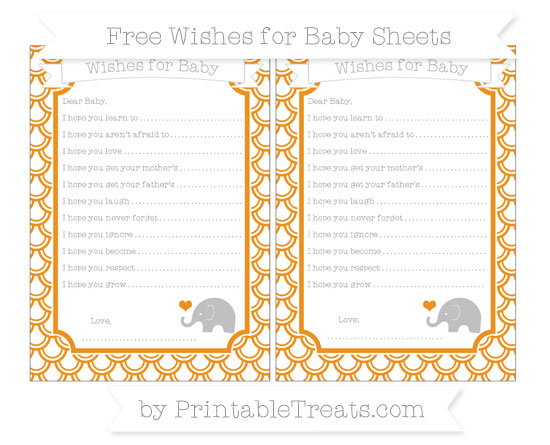 Free Carrot Orange Fish Scale Pattern Baby Elephant Wishes for Baby Sheets
