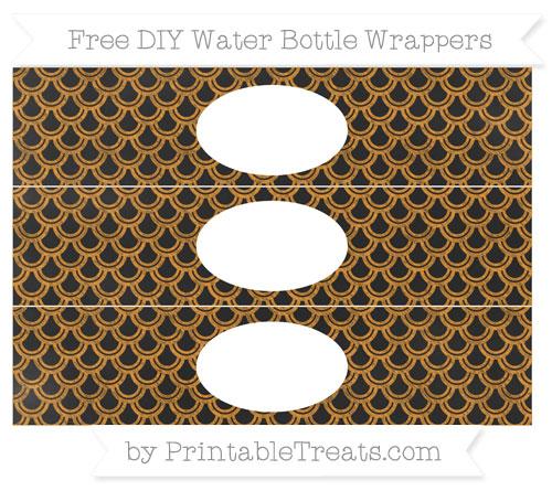 Free Carrot Orange Fish Scale Pattern Chalk Style DIY Water Bottle Wrappers