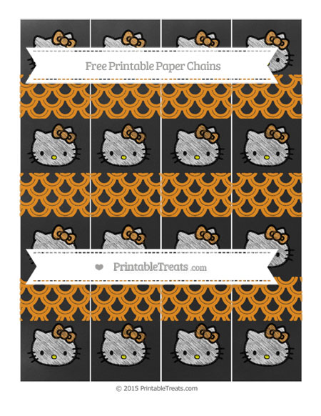 Free Carrot Orange Fish Scale Pattern Chalk Style Hello Kitty Paper Chains
