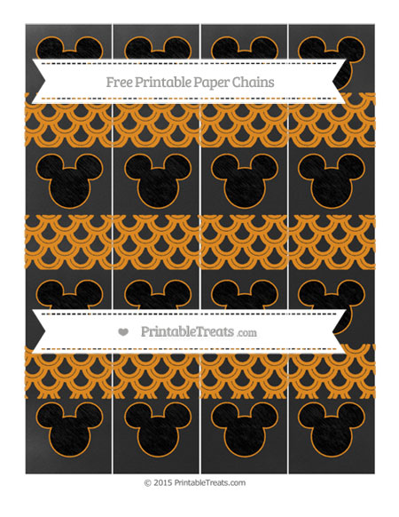 Free Carrot Orange Fish Scale Pattern Chalk Style Mickey Mouse Paper Chains