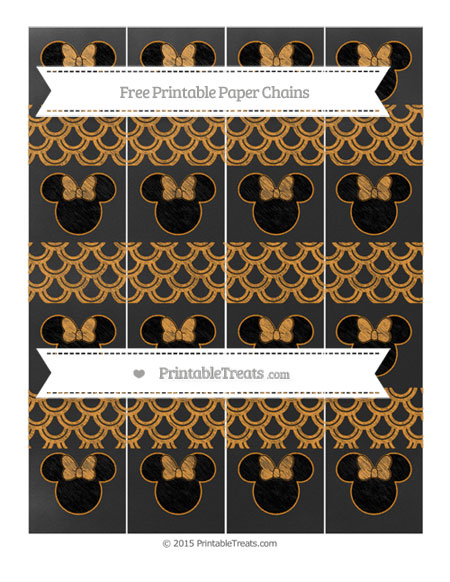 Free Carrot Orange Fish Scale Pattern Chalk Style Minnie Mouse Paper Chains