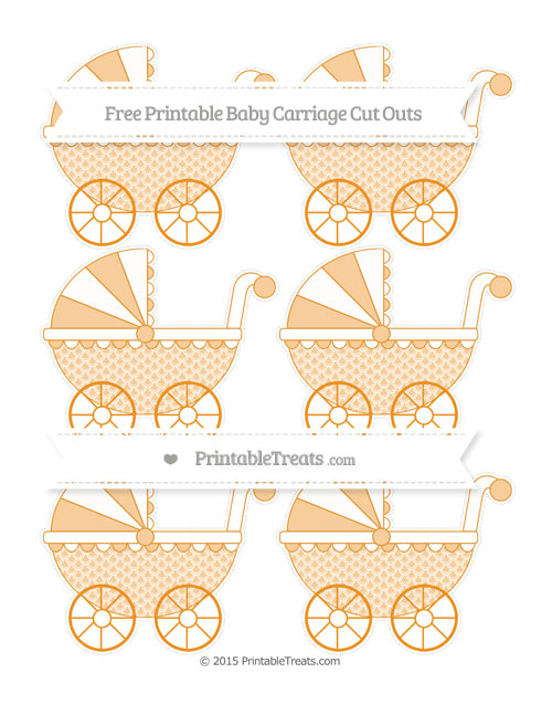Free Carrot Orange Fish Scale Pattern Small Baby Carriage Cut Outs