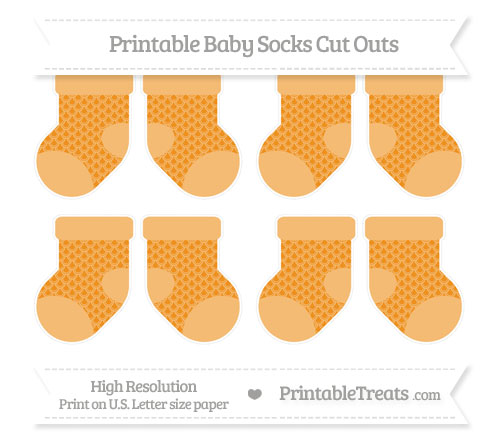 Free Carrot Orange Fish Scale Pattern Small Baby Socks Cut Outs