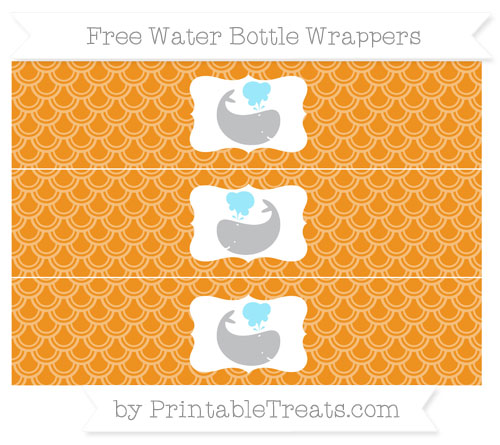 Free Carrot Orange Fish Scale Pattern Whale Water Bottle Wrappers