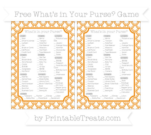 Free Carrot Orange Fish Scale Pattern What's in Your Purse Baby Shower Game
