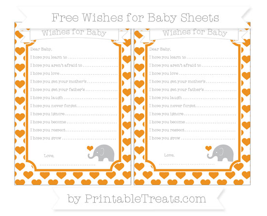 Free Carrot Orange Heart Pattern Baby Elephant Wishes for Baby Sheets