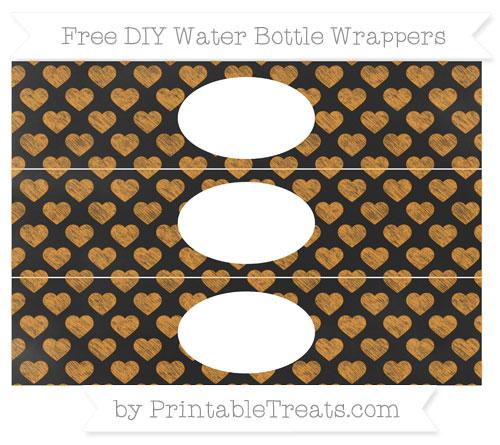 Free Carrot Orange Heart Pattern Chalk Style DIY Water Bottle Wrappers