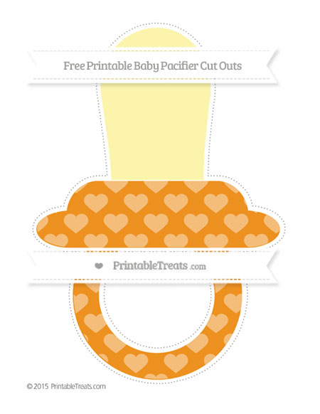 Free Carrot Orange Heart Pattern Extra Large Baby Pacifier Cut Outs