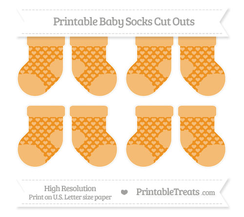 Free Carrot Orange Heart Pattern Small Baby Socks Cut Outs