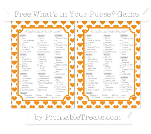 Free Carrot Orange Heart Pattern What's in Your Purse Baby Shower Game