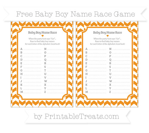 Free Carrot Orange Herringbone Pattern Baby Boy Name Race Game