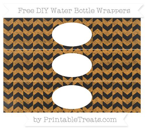 Free Carrot Orange Herringbone Pattern Chalk Style DIY Water Bottle Wrappers