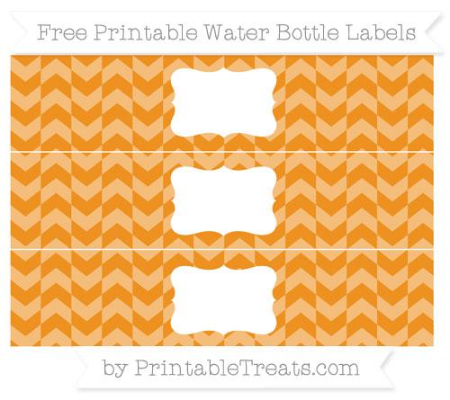 Free Carrot Orange Herringbone Pattern Water Bottle Labels