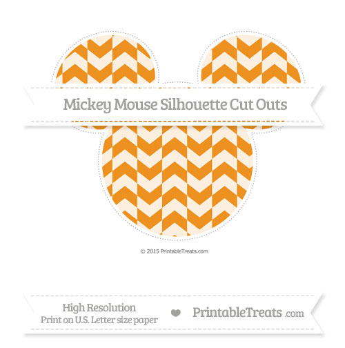 Free Carrot Orange Herringbone Pattern Extra Large Mickey Mouse Silhouette Cut Outs
