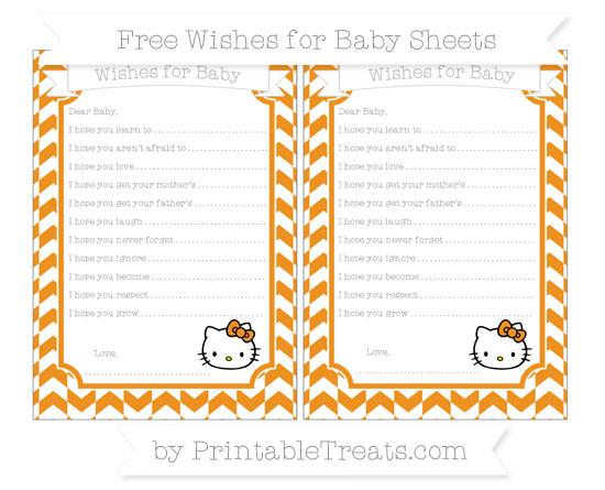 Free Carrot Orange Herringbone Pattern Hello Kitty Wishes for Baby Sheets