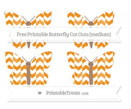 Free Carrot Orange Herringbone Pattern Medium Butterfly Cut Outs