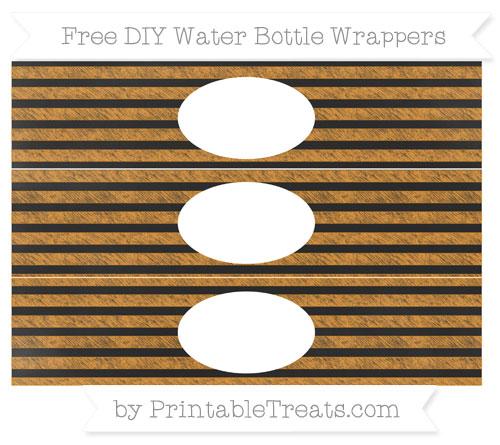 Free Carrot Orange Horizontal Striped Chalk Style DIY Water Bottle Wrappers