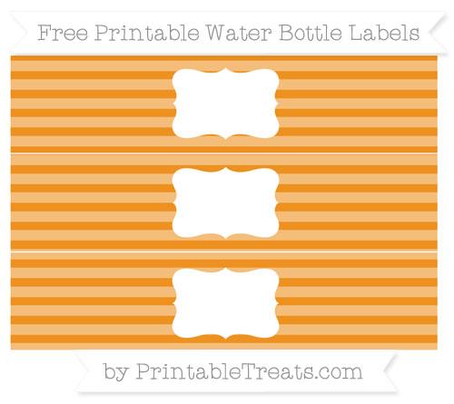 Free Carrot Orange Horizontal Striped Water Bottle Labels