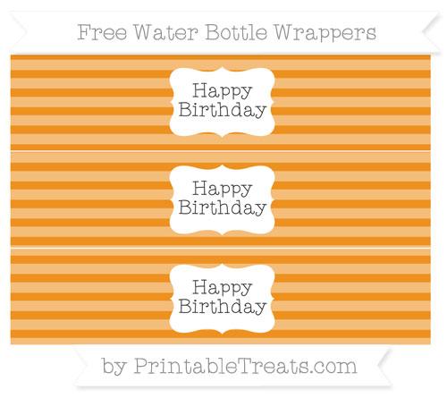 Free Carrot Orange Horizontal Striped Happy Birhtday Water Bottle Wrappers