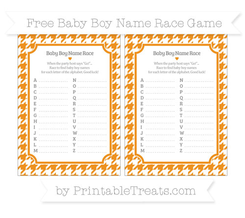 Free Carrot Orange Houndstooth Pattern Baby Boy Name Race Game