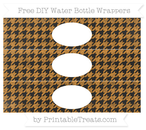 Free Carrot Orange Houndstooth Pattern Chalk Style DIY Water Bottle Wrappers
