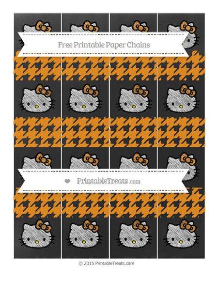Free Carrot Orange Houndstooth Pattern Chalk Style Hello Kitty Paper Chains