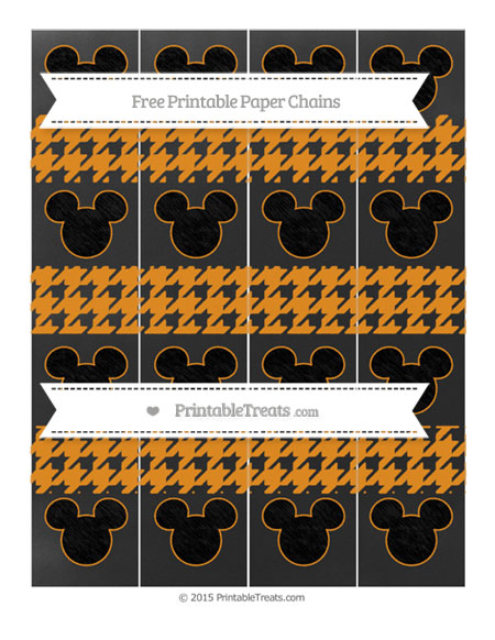 Free Carrot Orange Houndstooth Pattern Chalk Style Mickey Mouse Paper Chains