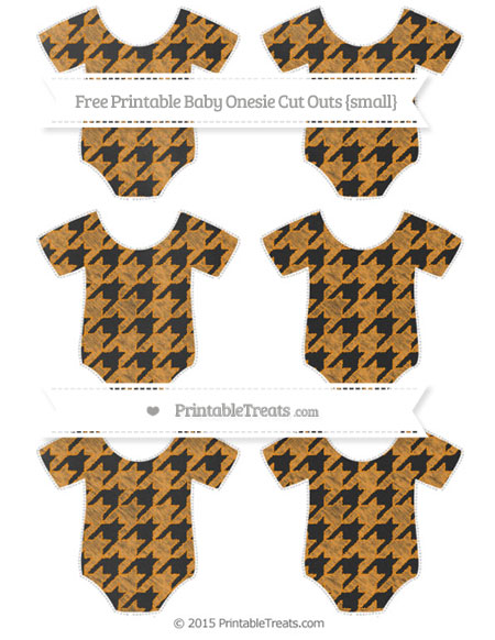 Free Carrot Orange Houndstooth Pattern Chalk Style Small Baby Onesie Cut Outs