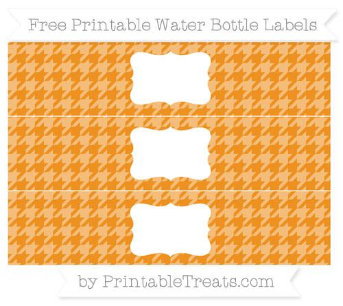 Free Carrot Orange Houndstooth Pattern Water Bottle Labels